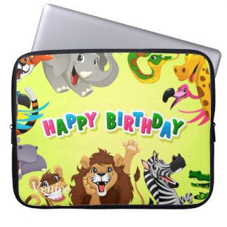 Happy birthday zoo animals laptop sleeve