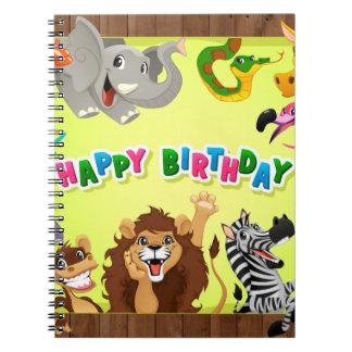 Happy birthday zoo animals notebook