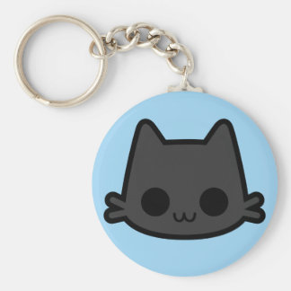 Happy Black Cat Face on Blue Keychains