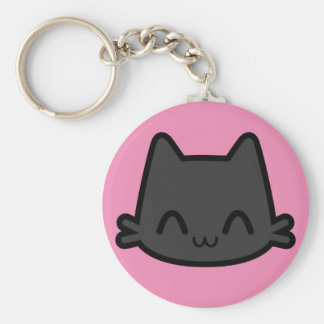 Happy Black Cat Face on Pink Keychain