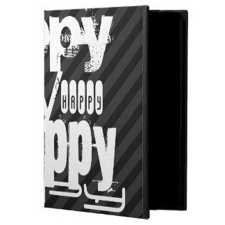 Happy; Black & Dark Gray Stripes Cover For iPad Air