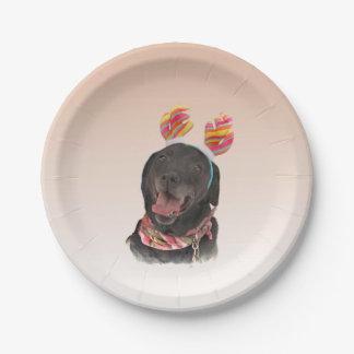 Happy Black Labrador Retriever Dog Paper Plate