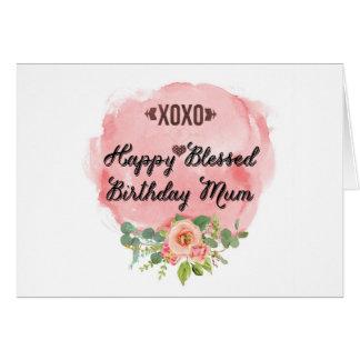 Happy Blessed Birthday Mum Card