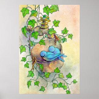 HAPPY BLUE BIRDS by SHARON SHARPE Poster