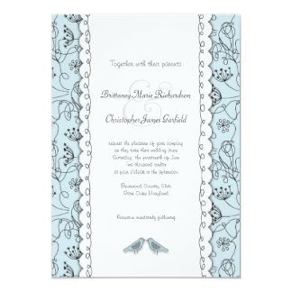 Happy Blue Birds Wedding Doodle Trendy Budget 13 Cm X 18 Cm Invitation Card