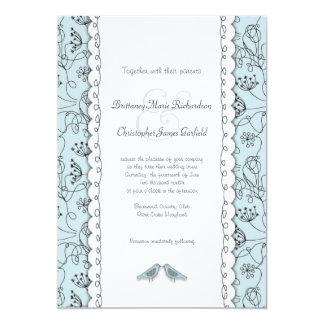 Happy Blue Birds Wedding Doodle Trendy Budget Card