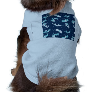 Happy Blue cartoon dogs and bones pattern Sleeveless Dog Shirt