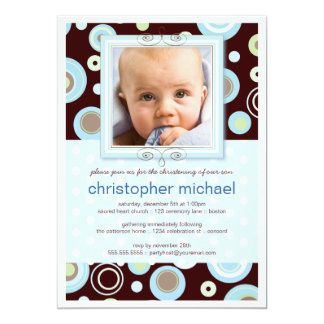 Happy Blue Dots Baby Photo Christening Invitation