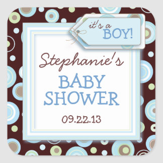 Happy Blue Dots Boy Baby Favor & Envelope Sticker