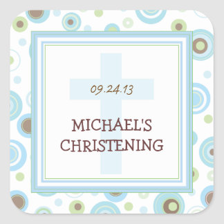 Happy Blue Dots Cross Christening Baptism Sticker