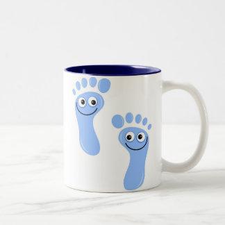 Happy Blue Feet Two-Tone Coffee Mug
