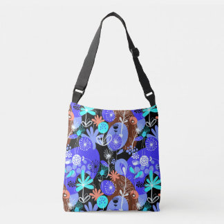 Happy blue flowers All-Over-Print Cross Body Bag
