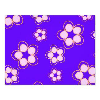 Happy Blue Lotus Flowers 11 Cm X 14 Cm Invitation Card