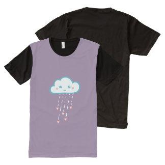 Happy Blue Rain Cloud Raining Pink Hearts All-Over Print T-Shirt