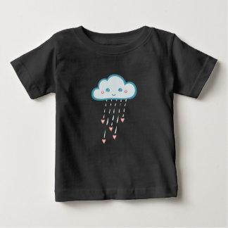 Happy Blue Rain Cloud Raining Pink Hearts Baby T-Shirt
