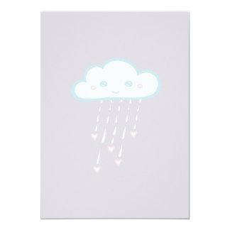 Happy Blue Rain Cloud Raining Pink Hearts Card