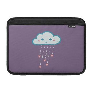 Happy Blue Rain Cloud Raining Pink Hearts MacBook Air Sleeve