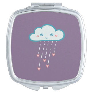 Happy Blue Rain Cloud Raining Pink Hearts Mirrors For Makeup