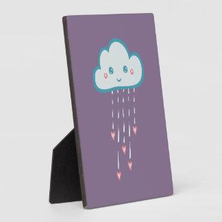 Happy Blue Rain Cloud Raining Pink Hearts Plaques