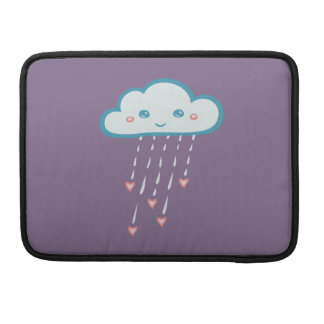 Happy Blue Rain Cloud Raining Pink Hearts Sleeves For MacBook Pro