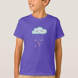 Happy Blue Rain Cloud Raining Pink Hearts T-Shirt