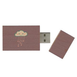 Happy Blue Rain Cloud Raining Pink Hearts Wood USB 2.0 Flash Drive