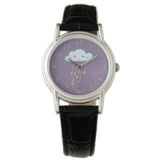 Happy Blue Rain Cloud Raining Pink Hearts Wristwatches