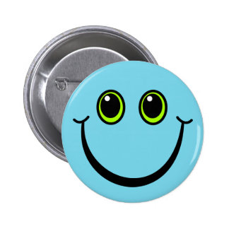 Happy Blue Smiley Face 6 Cm Round Badge