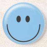 Happy blue smiley face beverage coasters