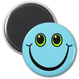 Happy Blue Smiley Face Magnet