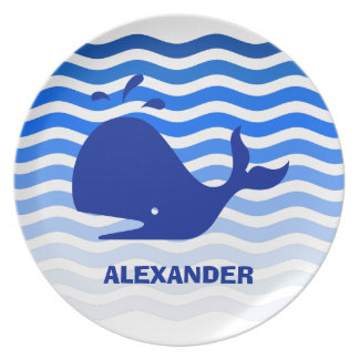 Happy blue whale swimming in blue waves plate