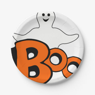 Happy Boo Ghost Paper Plate