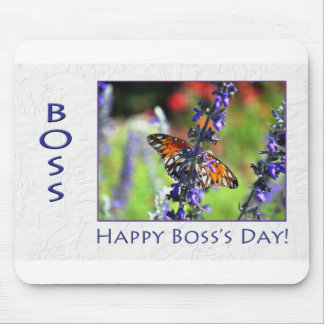 Happy Boss's Day Floral Butterfly Mousepad