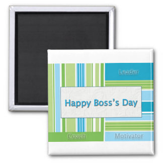 Happy Boss's Day Stripes Square Magnet