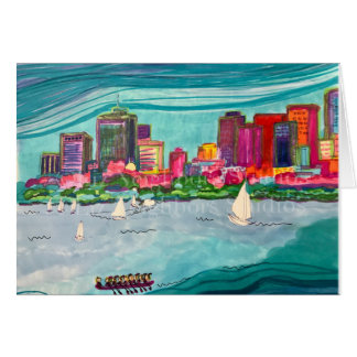 Happy Boston Colorful Skyline Charles River Card
