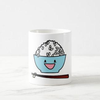 Happy bowl of white rice chopsticks carbs coffee mug