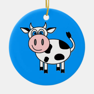 Happy Boy Cow Round Ceramic Decoration