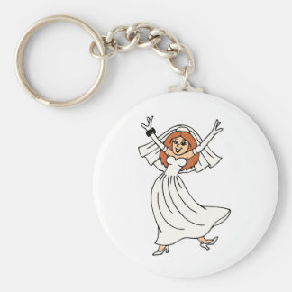 Happy Bride On Wedding Day Basic Round Button Key Ring