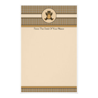 Happy Brown Bear Brown Plaid Stationery
