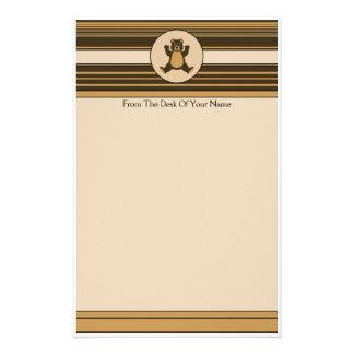 Happy Brown Bear Horizontal Stripes Stationery