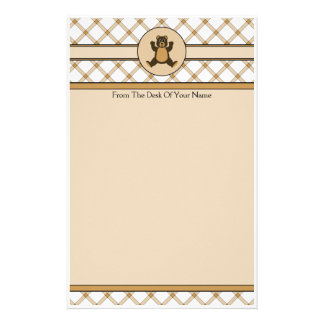 Happy Brown Bear Tan Plaid Stationery
