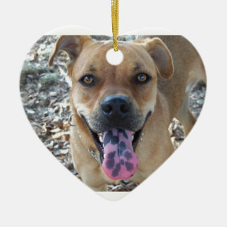 Happy Brown dog with spotted tongue Ceramic Ornament