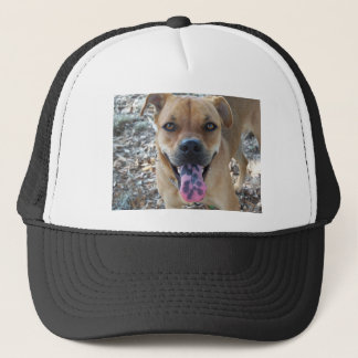 Happy Brown dog with spotted tongue Trucker Hat