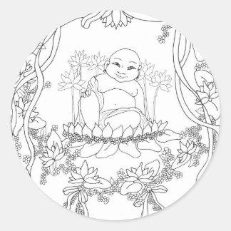 Happy Buddha with Lotus Classic Round Sticker
