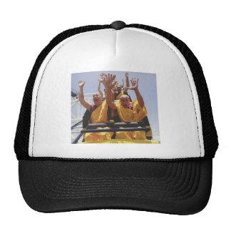 Happy buddhist monks on a roller coaster hat