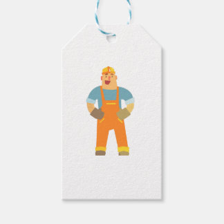 Happy Builder On Construction Site. Graphic Design Gift Tags