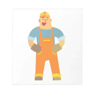 Happy Builder On Construction Site. Graphic Design Notepad