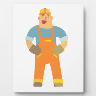 Happy Builder On Construction Site. Graphic Design Plaque