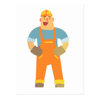 Happy Builder On Construction Site. Graphic Design Postcard