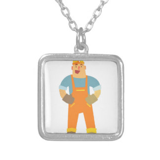 Happy Builder On Construction Site. Graphic Design Silver Plated Necklace